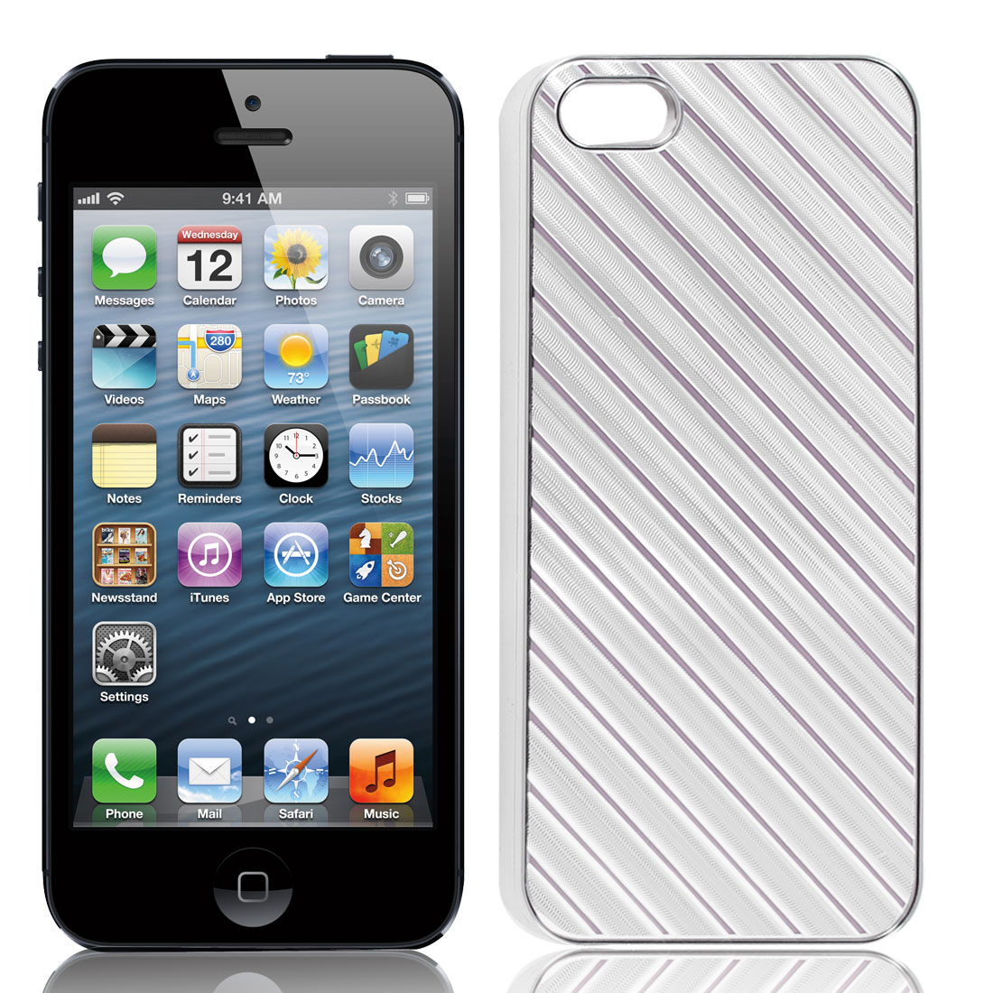 Silver Tone Pink Slanted Striped Hard Plastic Back Case Shell for iPhone 5 5G
