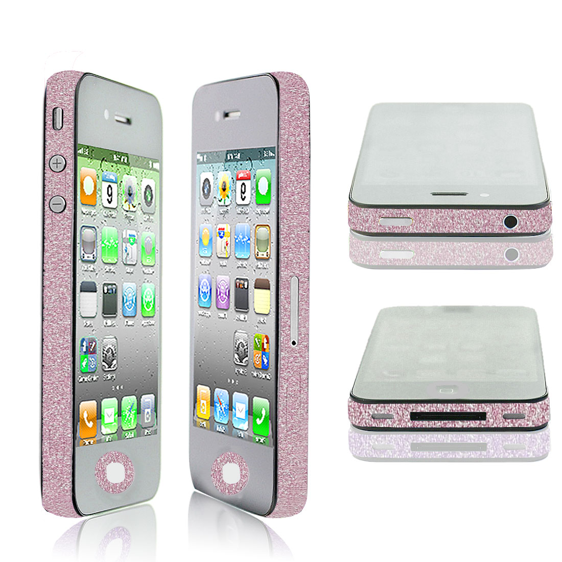 Glitter Pale Pink Vinyl Edge Wrap Decal Skin Sticker for iPhone 4 4G 4S 4GS