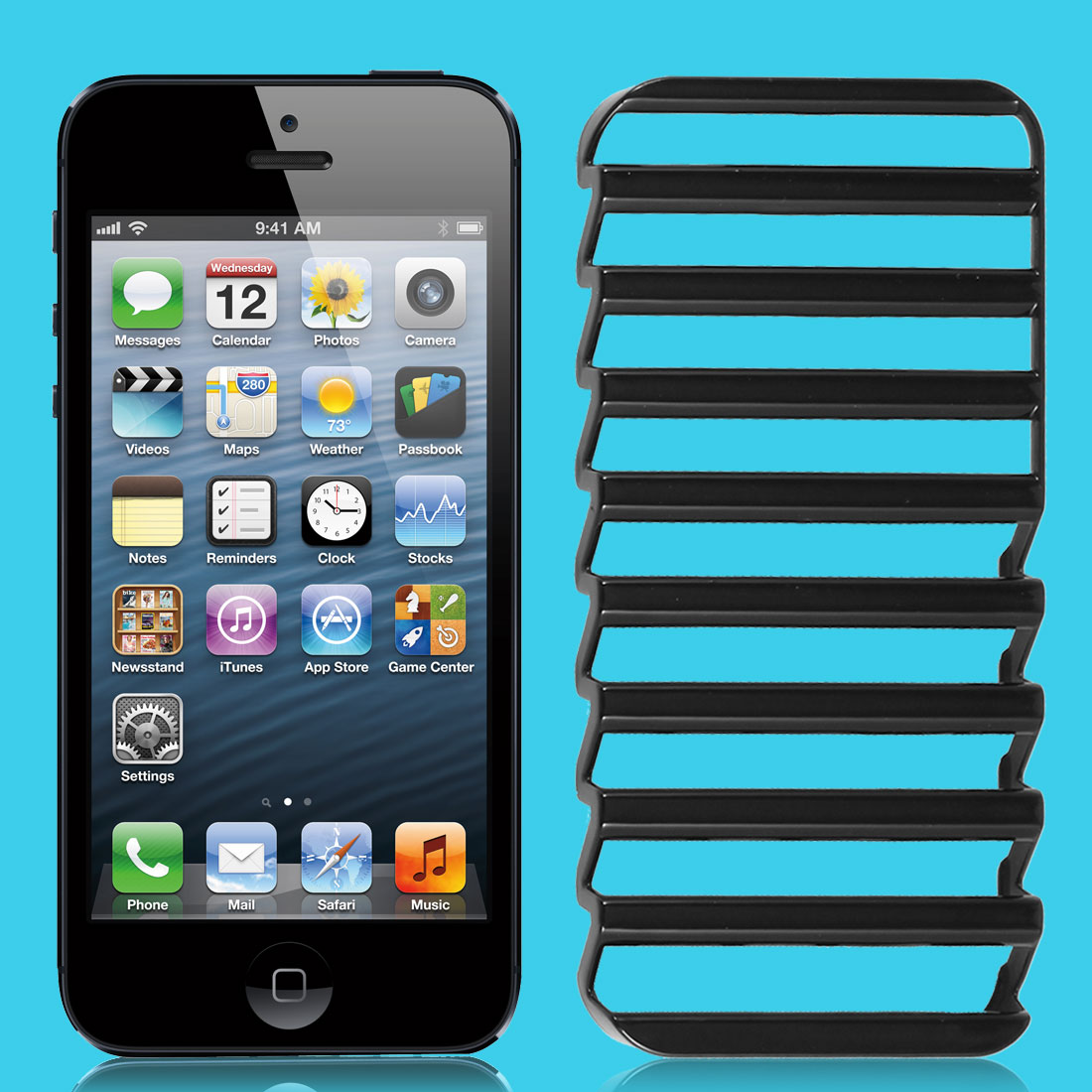 Ladder Shaped Hollow Out Black Case Cover for iPhone 5 5G 5th Gen