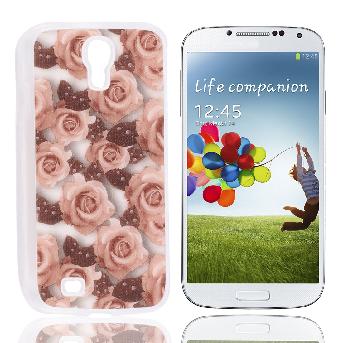 Peach Puff Rose Print Rubber Coated Hard Back Case Cover Shell for Samgsung S4 I9500