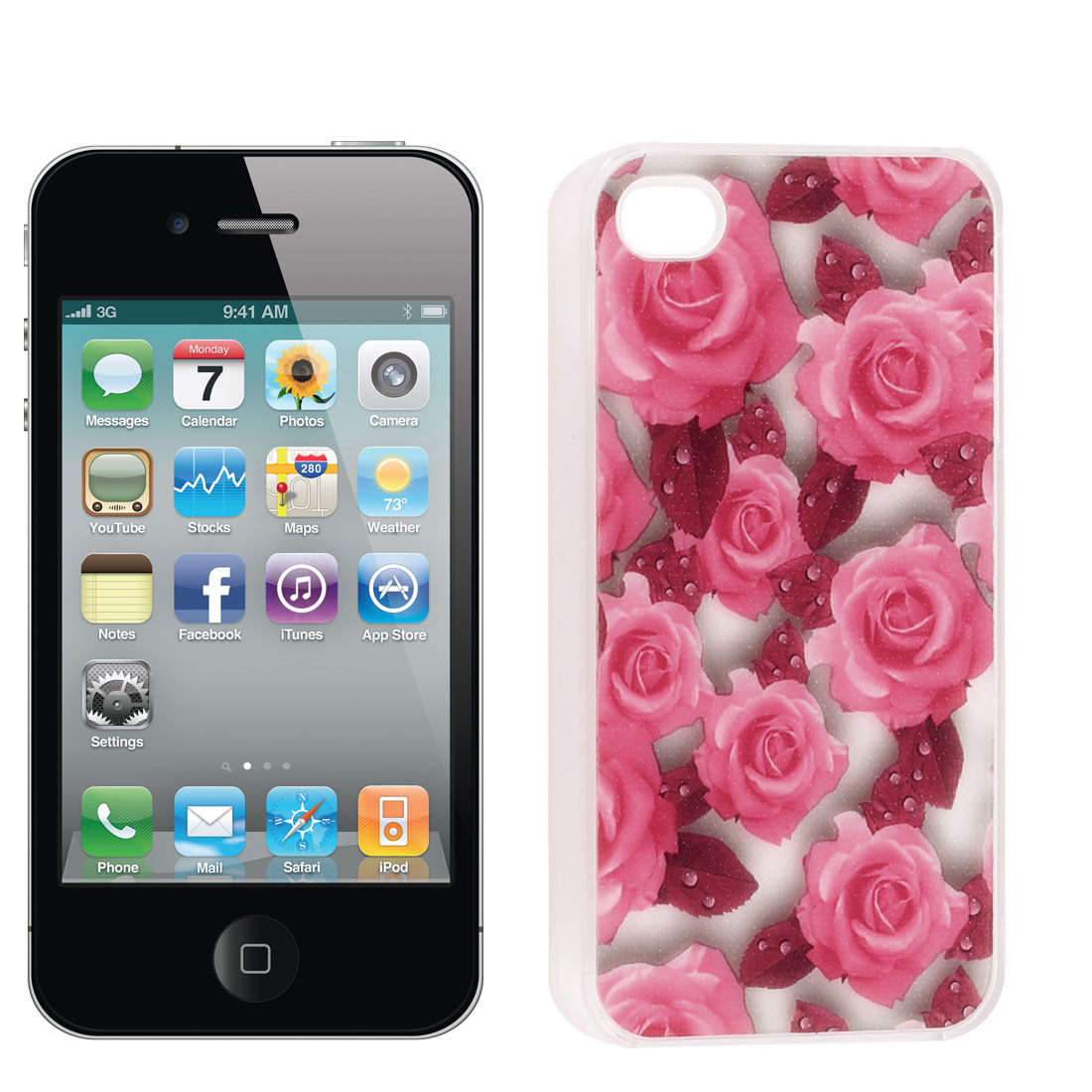 Rubber Coated Pink Rose Pattern Hard Back Case for iPhone 4 4S 4 G 4GS