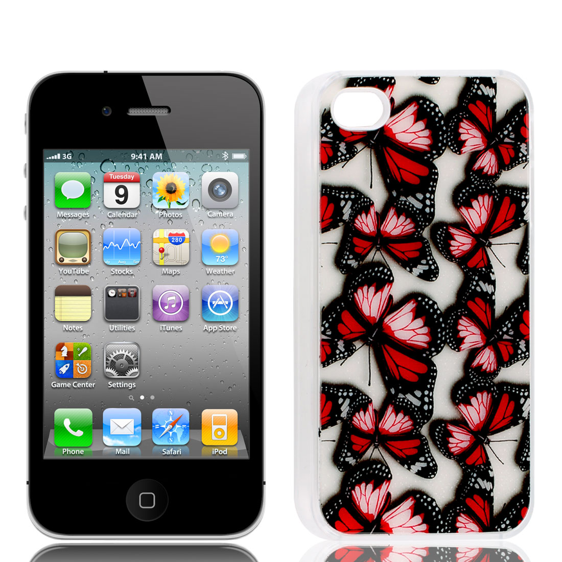 Rubber Coated Red Butterfly Pattern Hard Back Case for iPhone 4 4S 4 G 4GS