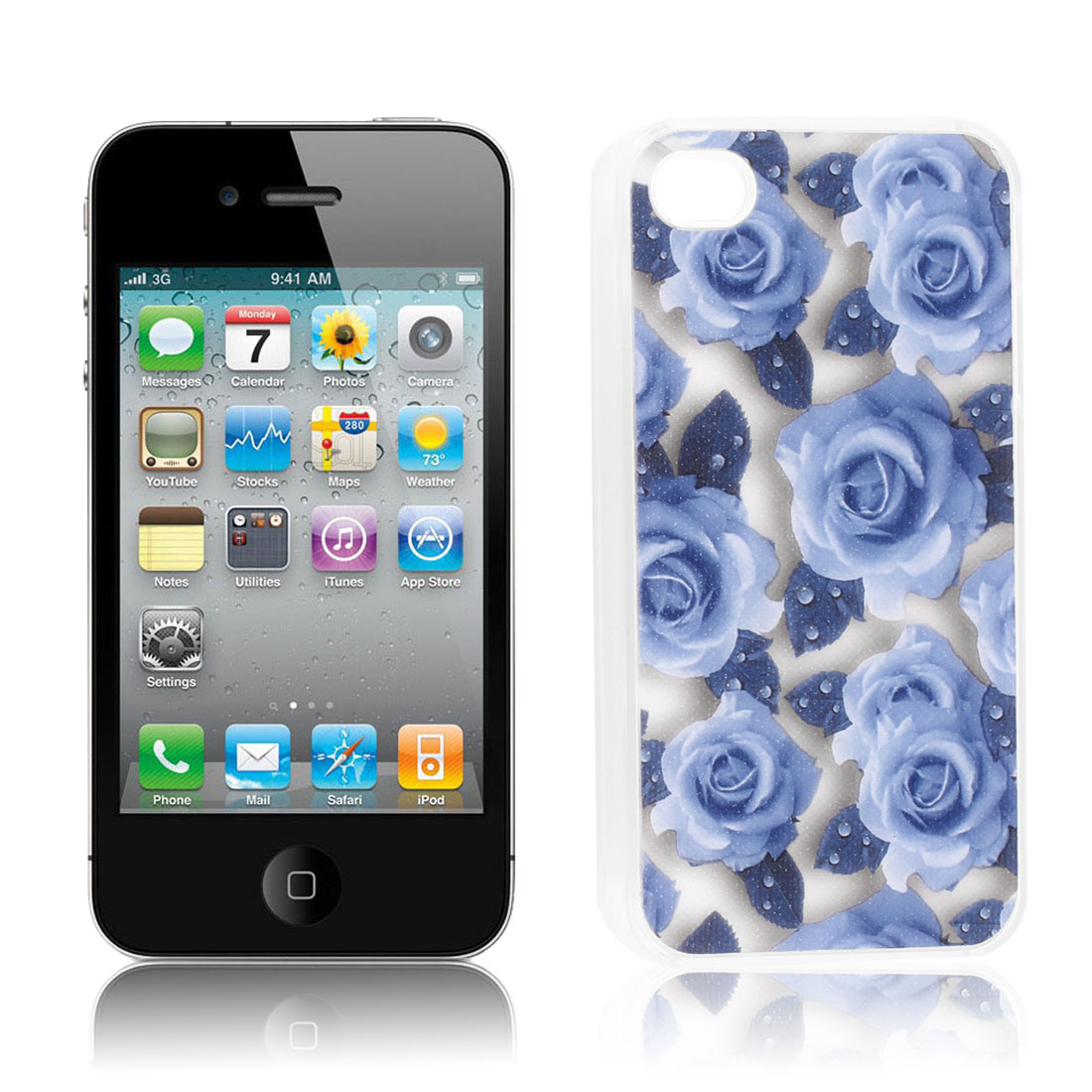 Glittery Powder Light Blue Rose Print Hard Back Case Cover for iPhone 4G 4S 4 4GS