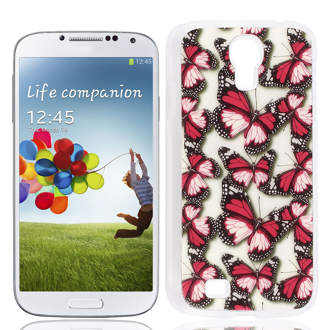 Red Butterfly Printed Glittery Powder Nonslip Back Case Shell for Samgsung S4 I9500