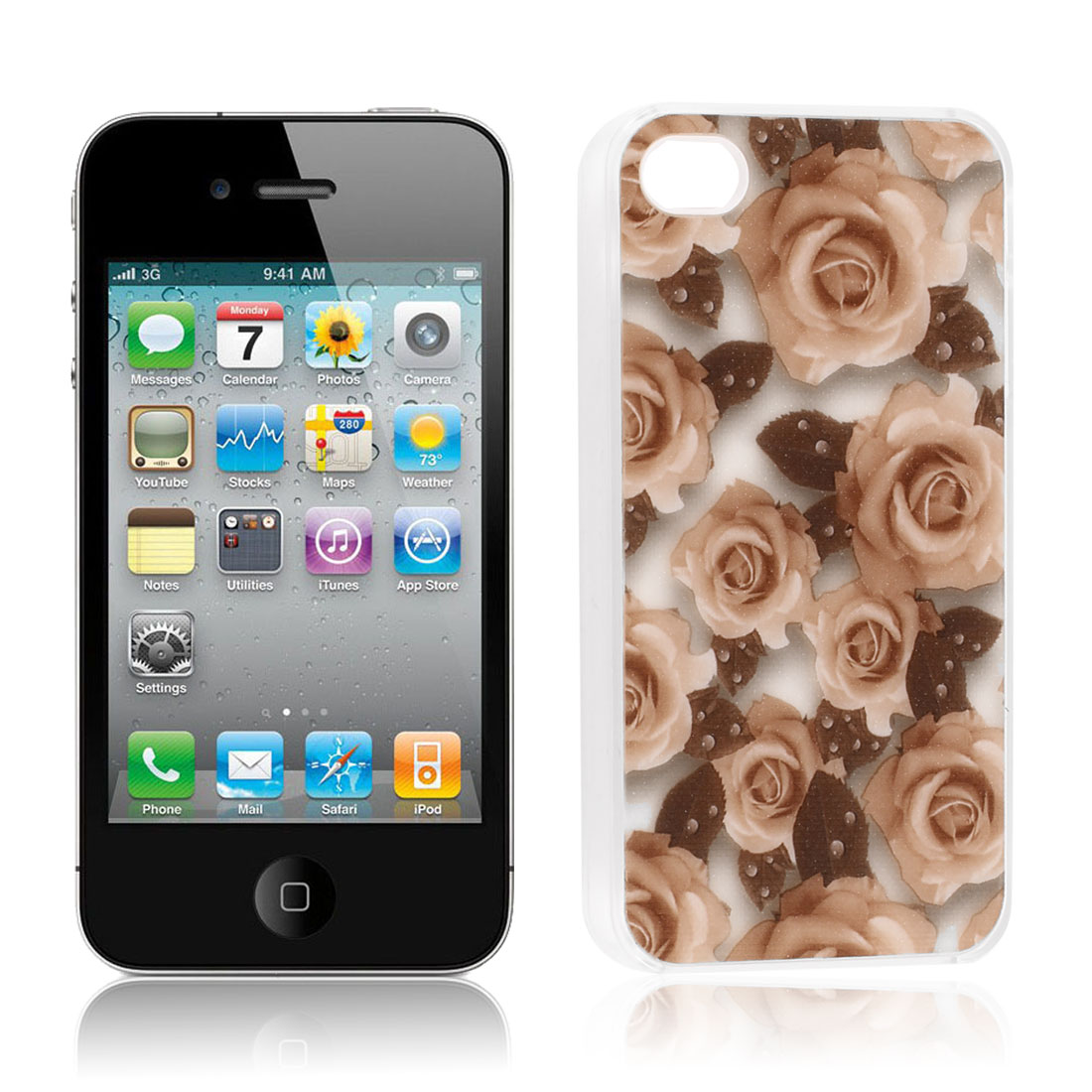 Rubber Coated Hard Peach Puff Rose Print Back Case Cover for iPhone 4 4S 4GS