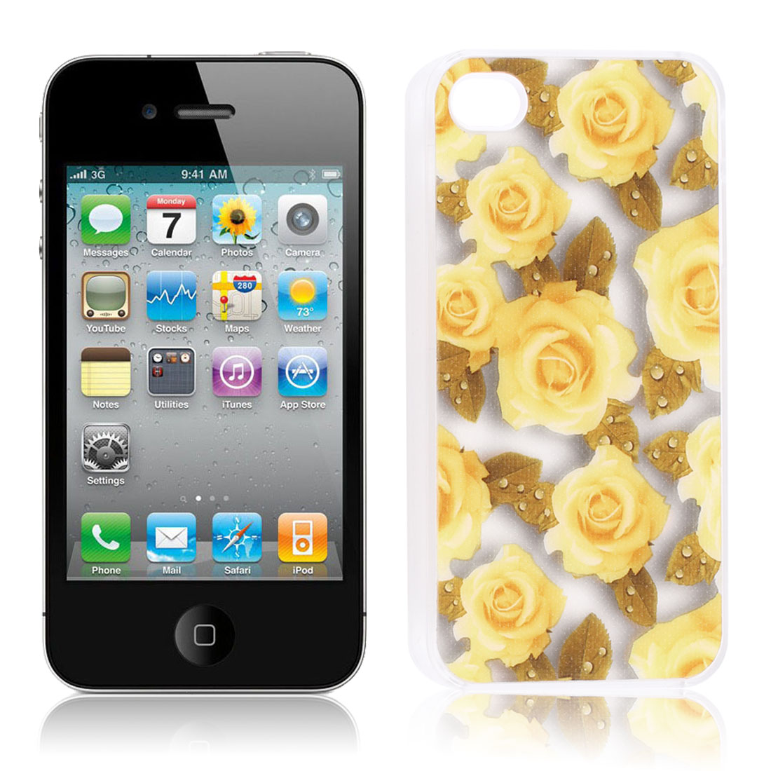 Glittery Powder Yellow Rose Print Hard Back Case Cover for iPhone 4G 4S 4 4GS