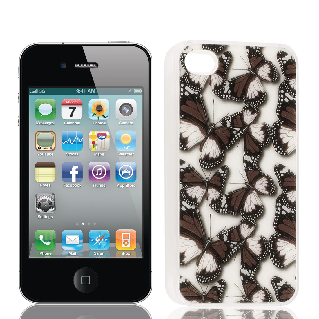 Glittery Powder Coffee Color Butterfly Print Hard Back Case Cover for iPhone 4G 4S