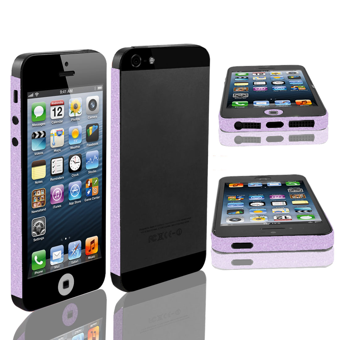 Light Purple Vinyl Frame Side Edge Wrap Decal Skin Sticker for iPhone 5 5G 5th