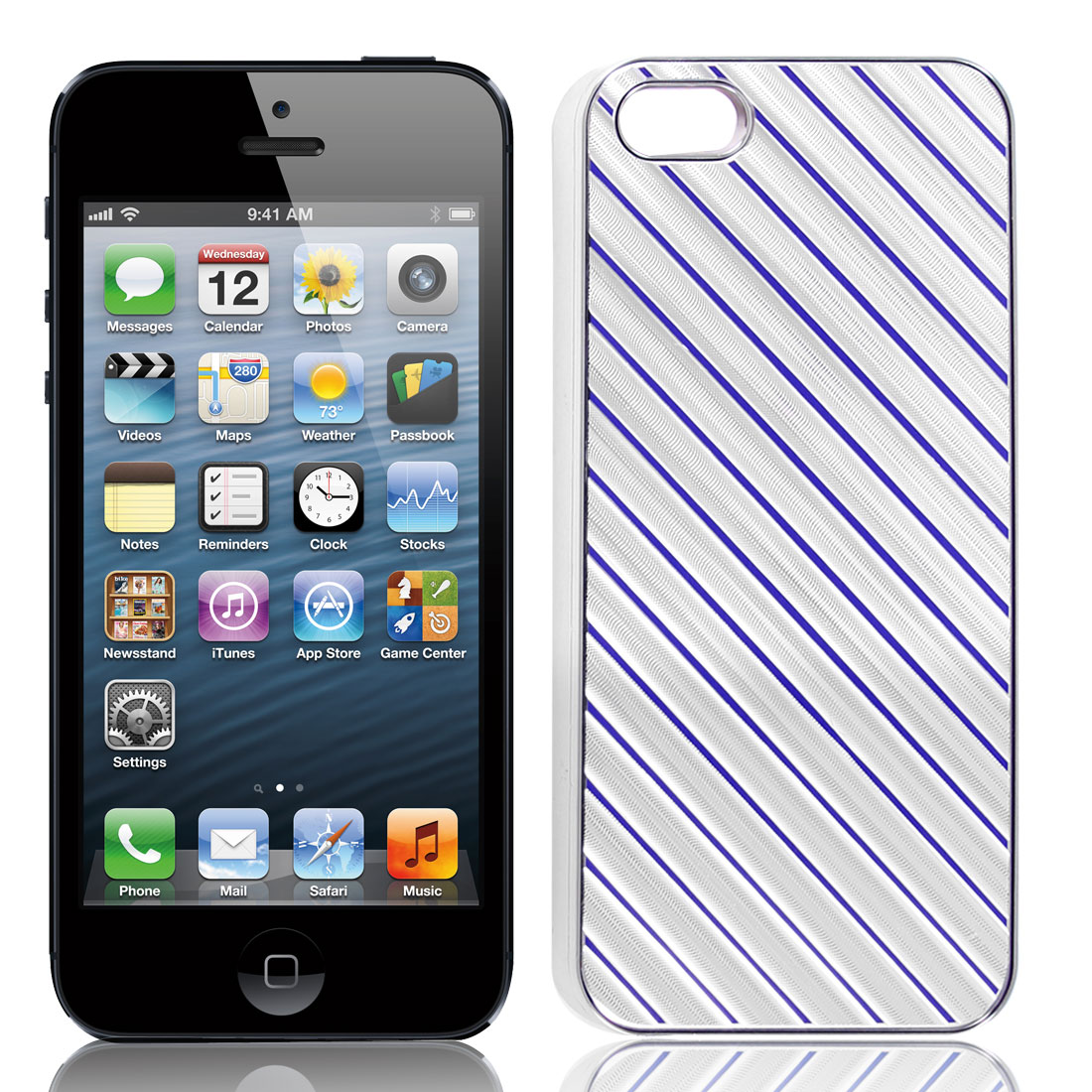 Silver Tone Blue Slanted Striped Hard Plastic Back Case Shell for iPhone 5 5G