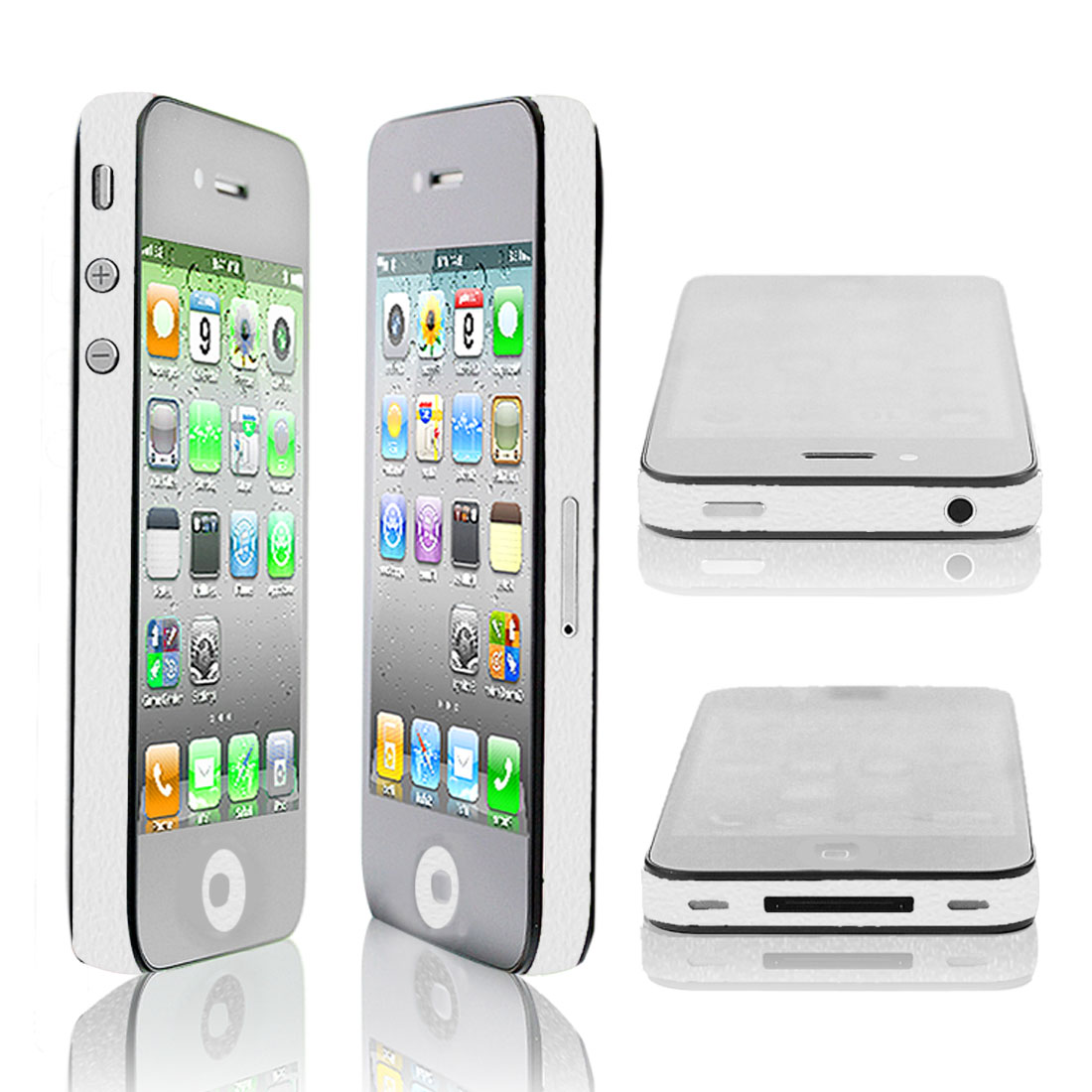 DIY Edge Wrap Decal Side Sticker Button Decal Cover White for Apple iPhone 4 4S