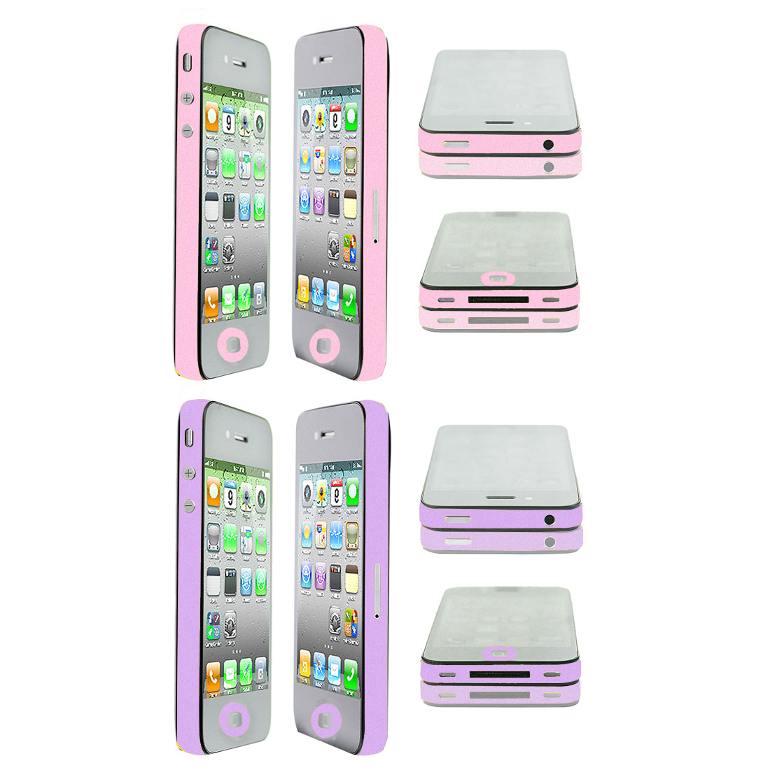 2 Pcs Frame Edge Wrap Decal Button Sticker Shield Pink Purple for iPhone 4 4G 4S