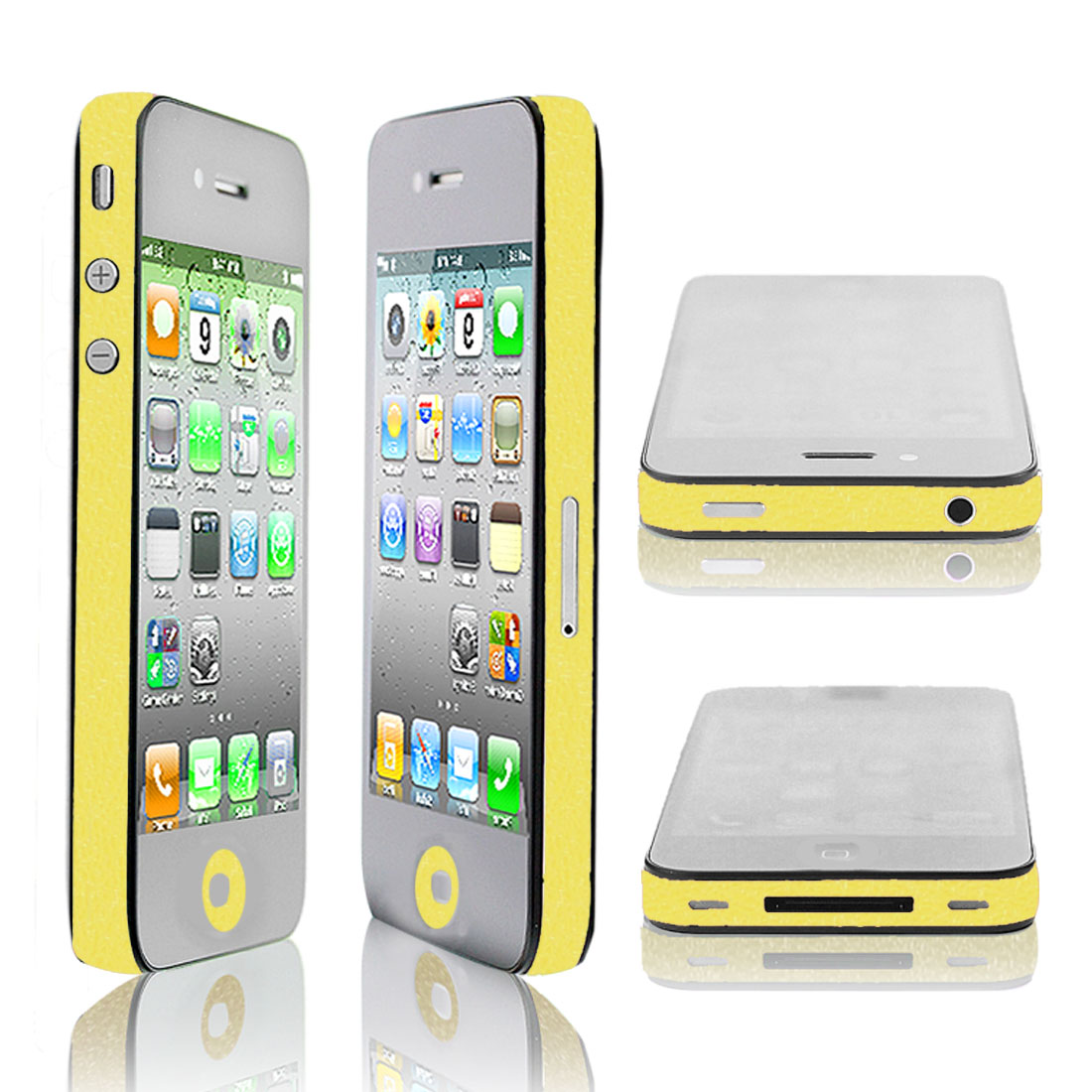 Self Adhesive Yellow Decor Edge Wrap Decal Sticker Set for iPhone 4G 4S