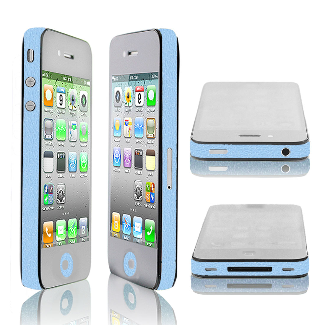 DIY Blue Vinyl Button Side Edge Wrap Decal Film Sticker for iPhone 4 4G 4S 4GS