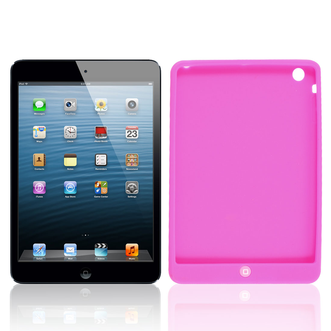 Fuchsia Soft Silicone Skin Case Cover Guard Protector for iPad Mini