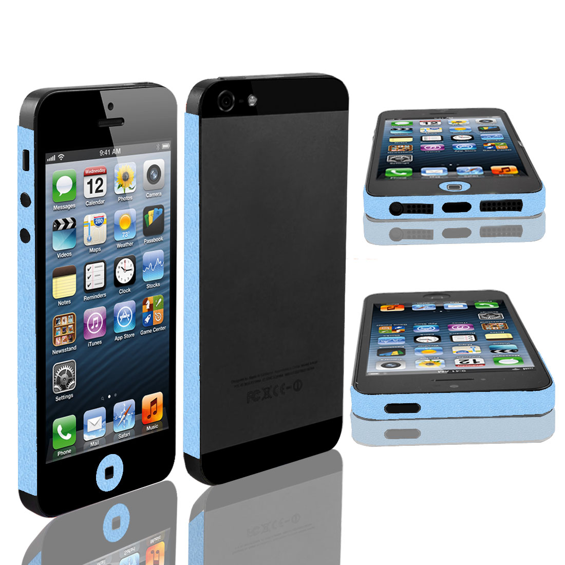 Sky Blue Edge Wrap Sticker Decal Cover Decor for Apple iPhone 5 5G 5th
