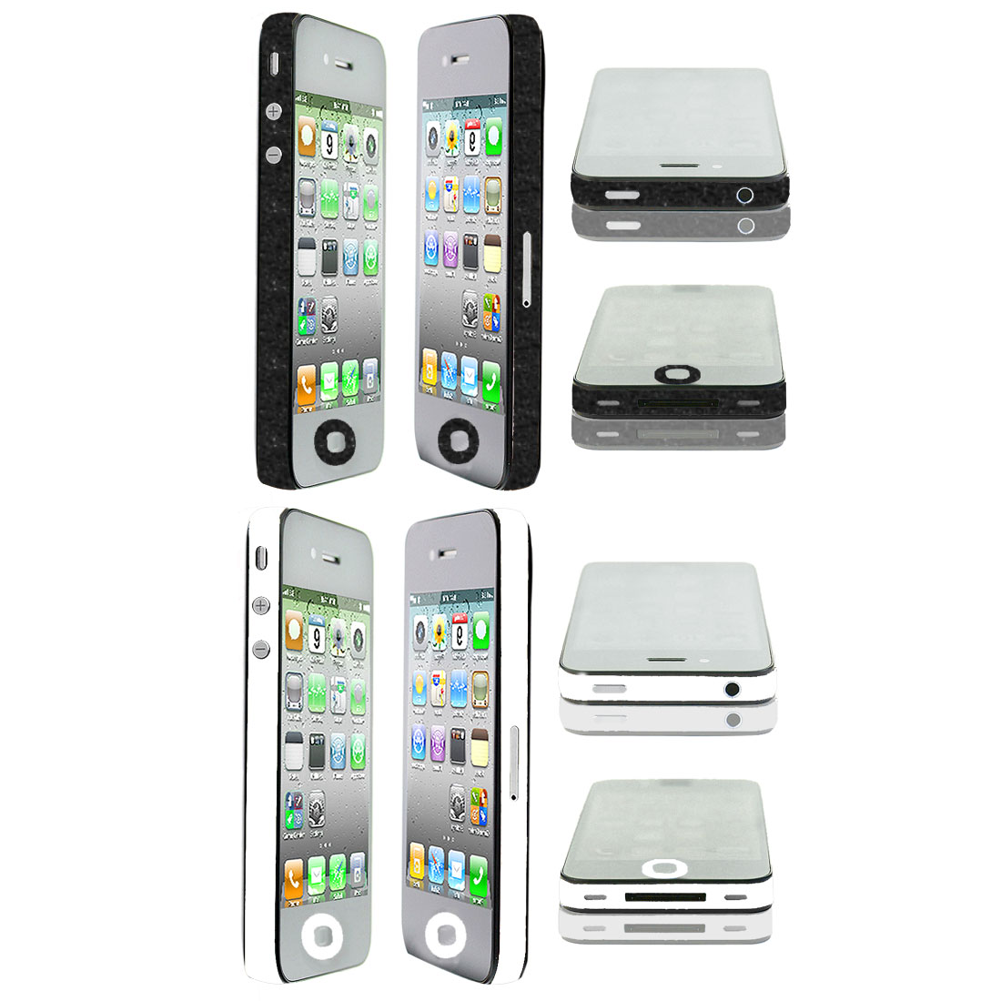 White Black Edge Wrap Sticker Decal Cover Decor 2 Pcs for iPhone 4 4G 4S 4GS