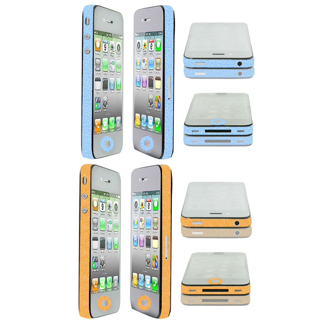 2 Pcs Orange Blue Vinyl Edge Wrap Decal Skin Sticker 2 Pcs for iPhone 4 4G 4S 4GS
