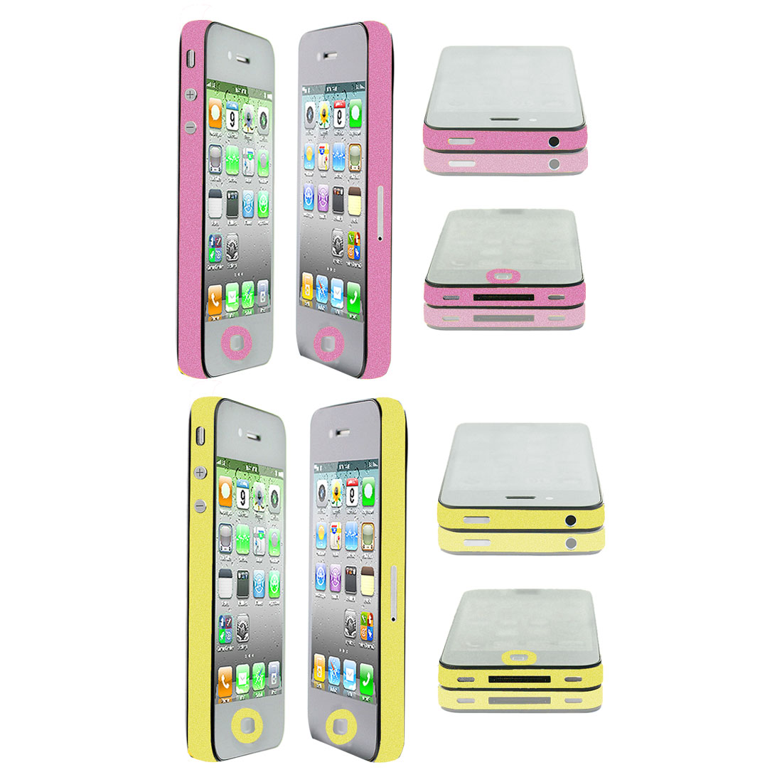 2 Pcs Frame Edge Wrap Decal Button Sticker Shield Yellow Pink for iPhone 4 4G 4S
