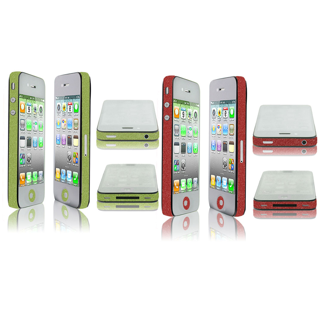 2 Pcs Red Green Edge Wrap Sticker Decal Cover Decor Set for iPhone 4 4G 4S 4GS