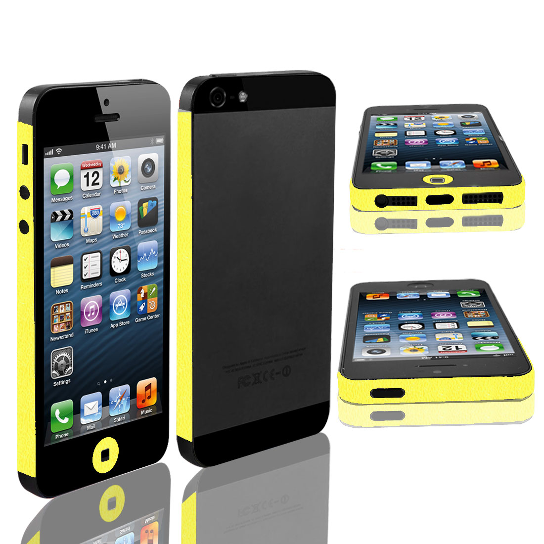 Yellow Vinyl Frame Side Edge Wrap Decal Skin Sticker for iPhone 5 5G 5th
