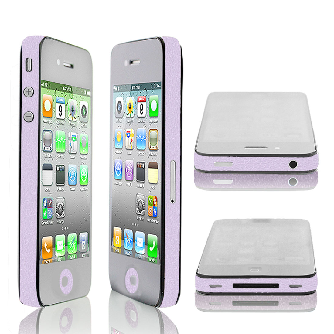 Self Adhesive Light Purple Frame Sticker Edge Wrap Decal Decor for iPhone 4G 4S