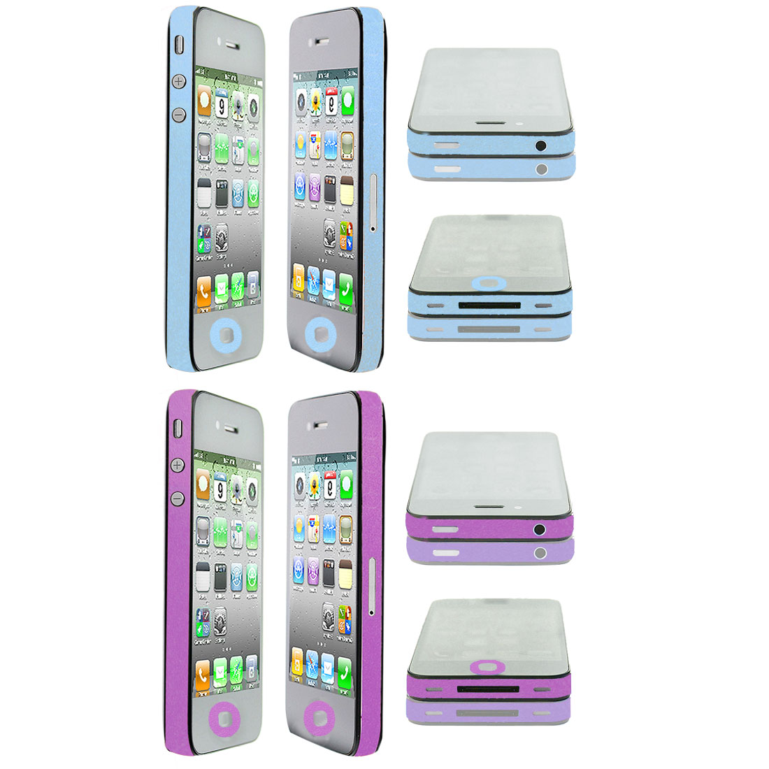 Glitter Purple Sky Blue Edge Wrap Decal Sticker 2 Pcs for iPhone 4 4G 4S 4GS