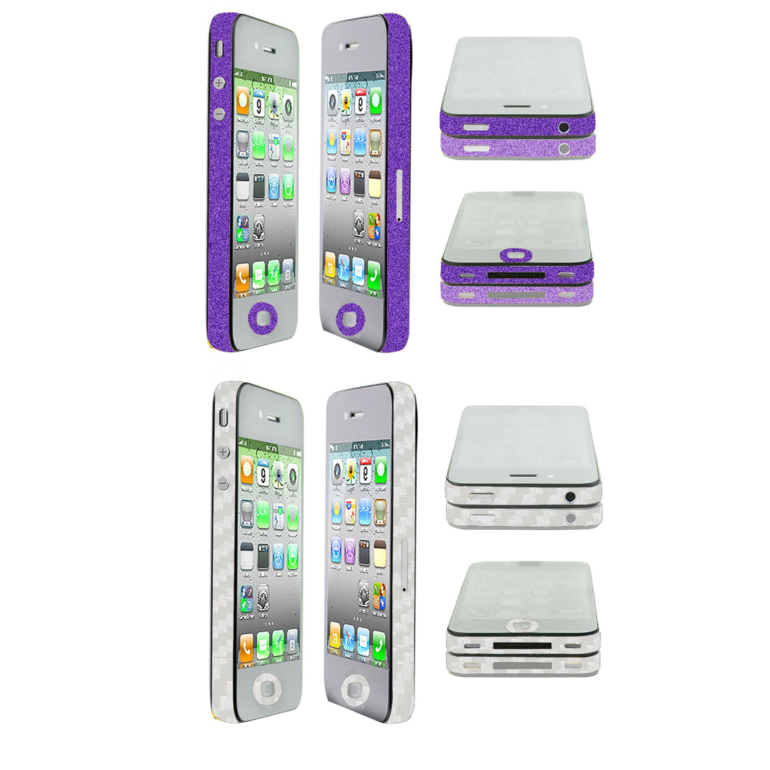 Shiny Purple Clear Edge Wrap Sticker Decal 2 Pcs for iPhone 4 4G 4S 4GS