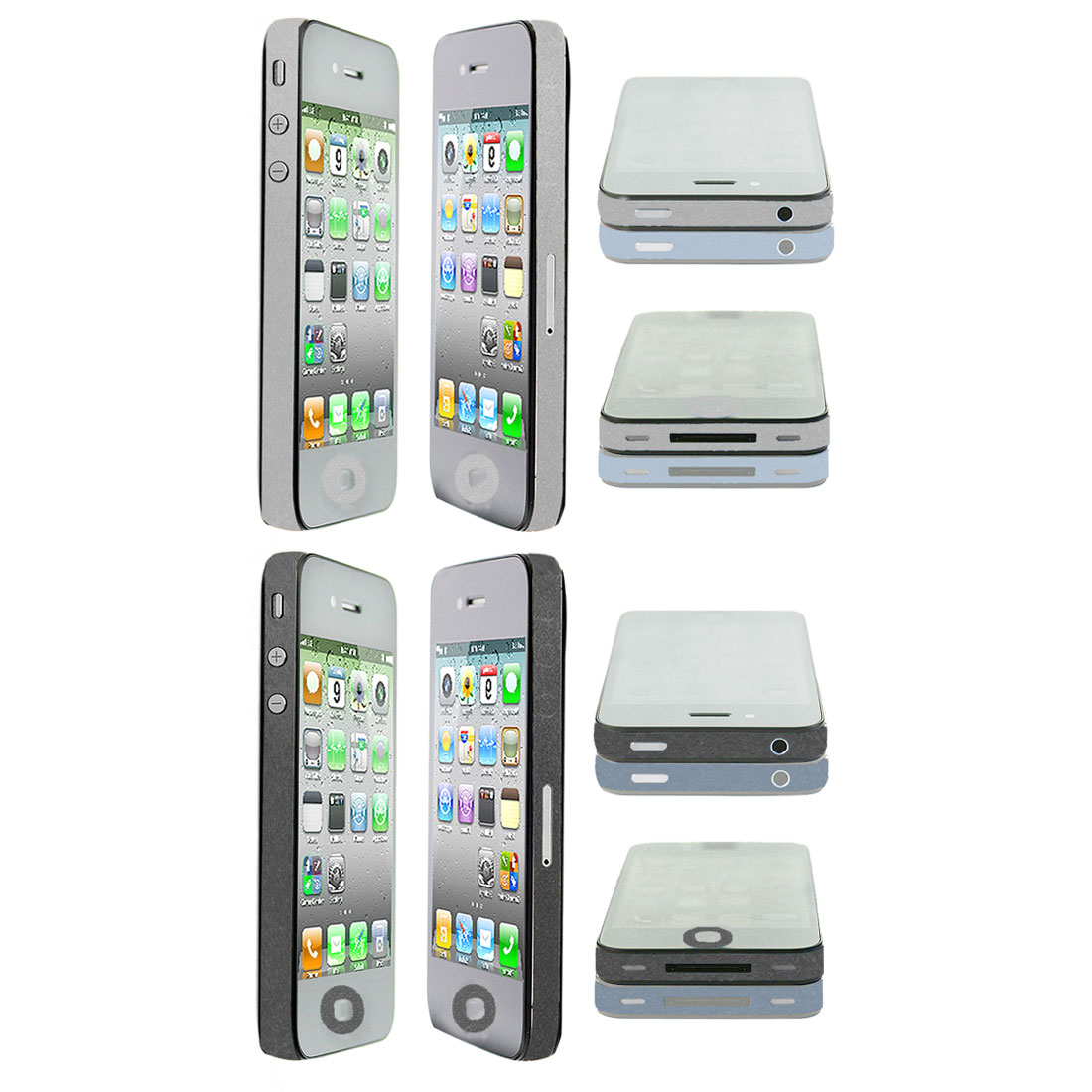 Glitter Silver Tone Black Edge Wrap Decal Sticker 2 Pcs for iPhone 4 4G 4S 4GS