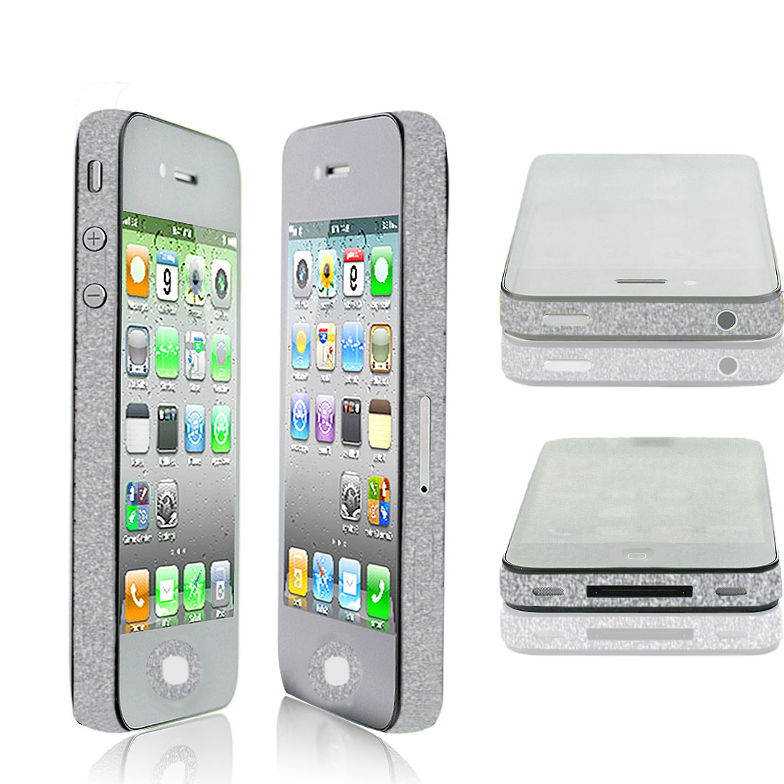 Self Adhesive Silver Tone Frame Sticker Edge Wrap Decal for iPhone 4G 4S