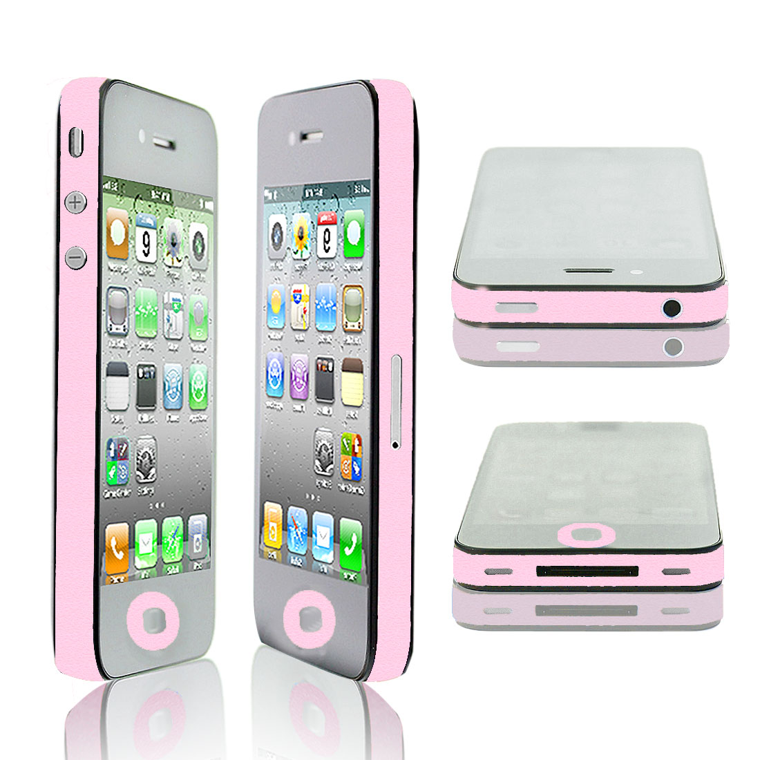 Button Frame Sticker Edge Wrap Decal Shield Pink for Apple iPhone 4 4S 4G