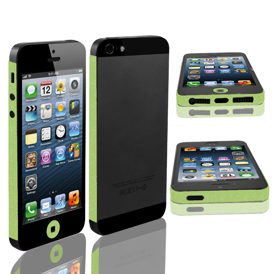 Self Adhesive Edge Wrap Decal Button Sticker Shield Green for iPhone 5 5G