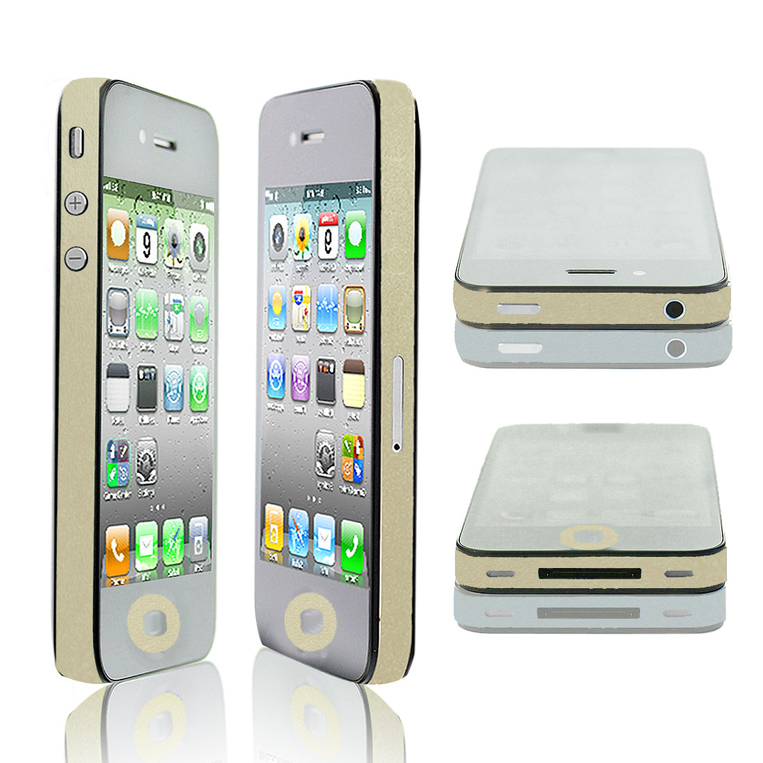 Bling Edge Wrap Decal Button Sticker Cover Pale Yellow for iPhone 4 4S 4G 4GS 4th
