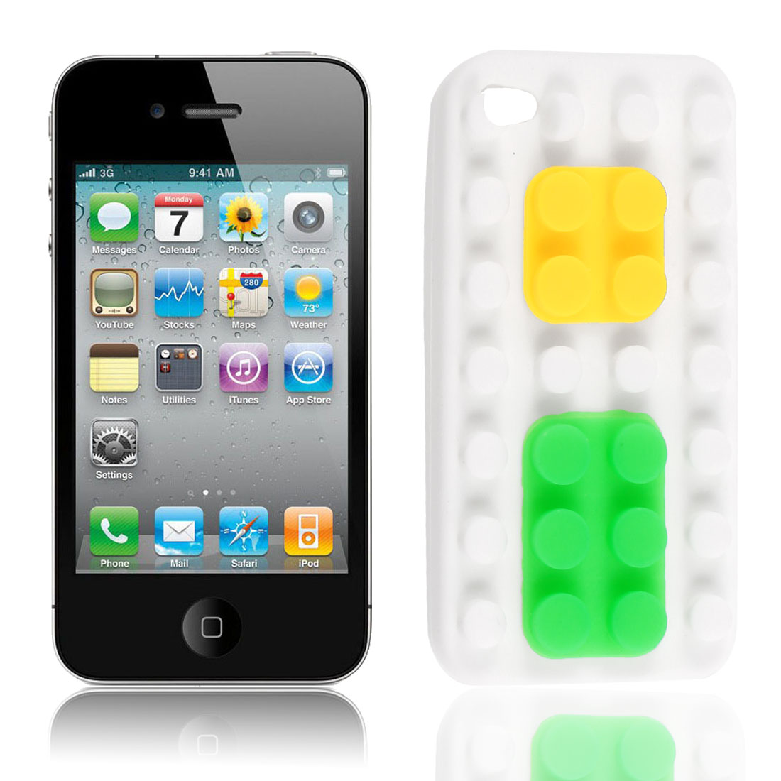Building Block White Soft Silicone Skin Case Cover for Apple iPhone 4G 4S