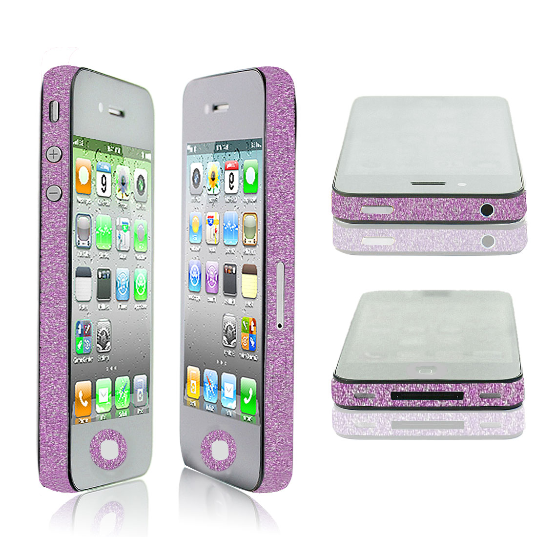 Glitter Light Purple Vinyl Edge Wrap Decal Skin Sticker for iPhone 4 4G 4S 4GS
