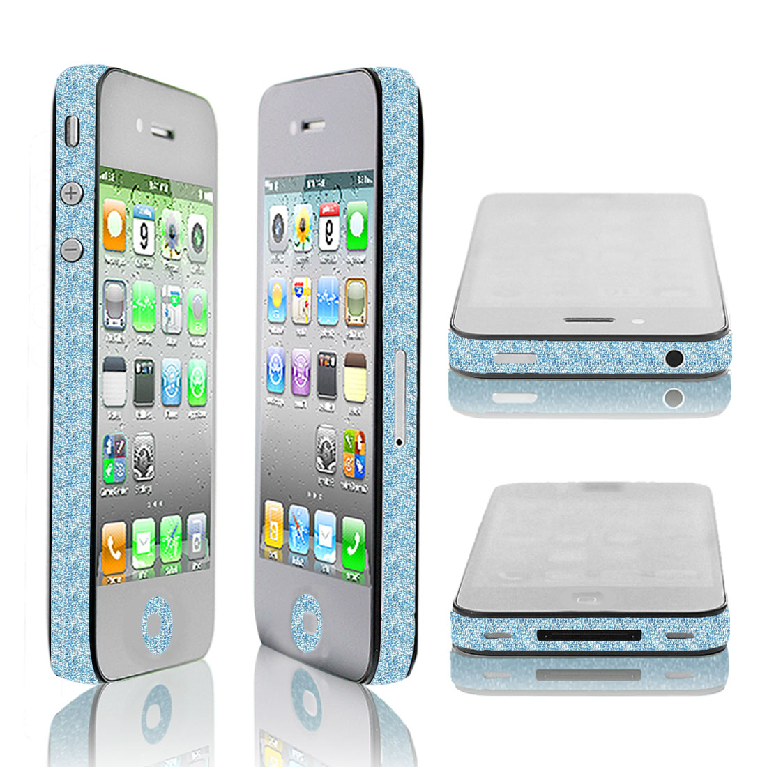 Shiny Sky Blue Edge Wrap Sticker Decal Decor for Apple iPhone 4 4G 4S 4GS