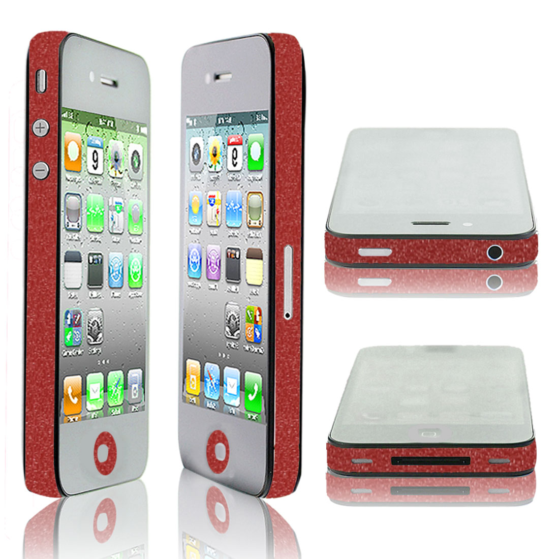 Red Vinyl Frame Button Side Edge Wrap Decal for iPhone 4 4G 4S 4GS