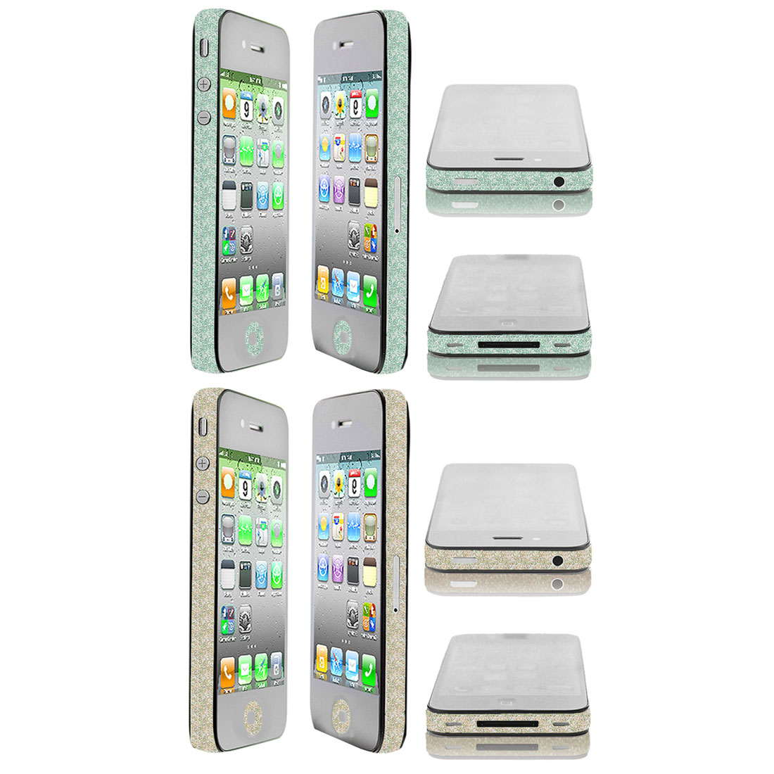 2 Pcs Bling Edge Wrap Decal Button Sticker Light Yellow Green for iPhone 4 4S 4G 4GS 4th