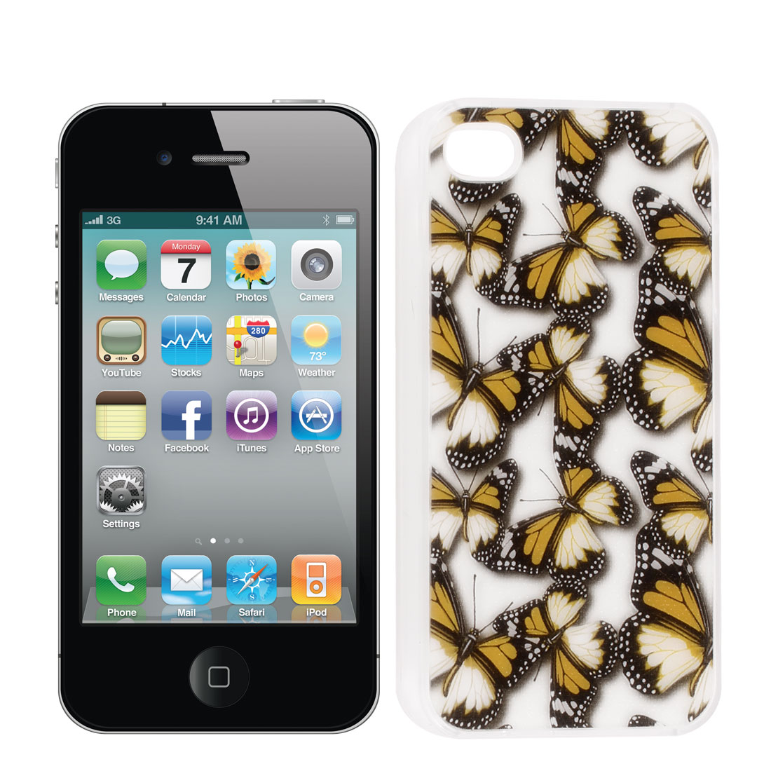 Rubber Coated Hard Yellow Butterfly Print Back Case Cover for iPhone 4 4S 4GS