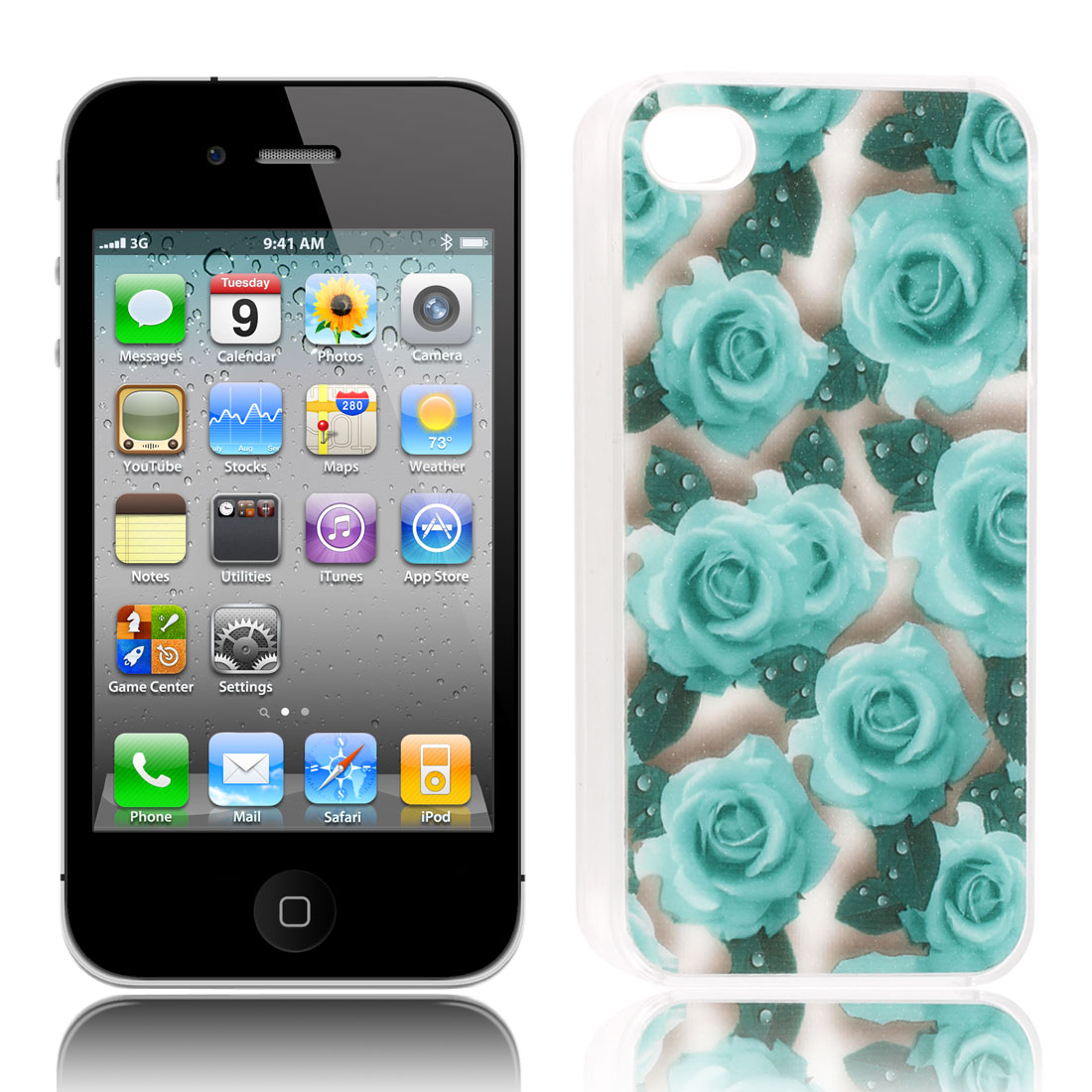 Rubber Coated Baby Blue Rose Pattern Hard Back Case for iPhone 4 4S 4 G 4GS