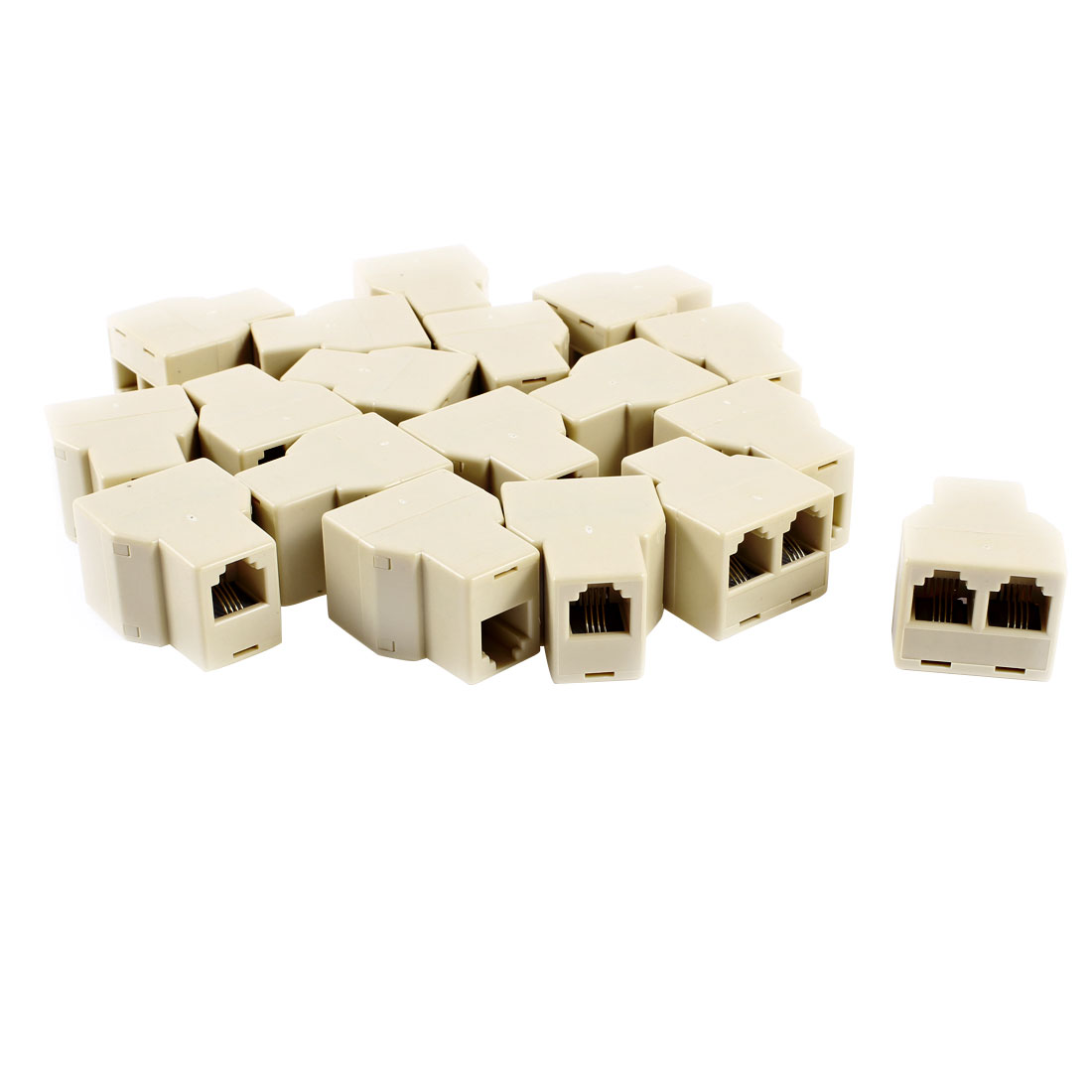 20 Pcs RJ11 F-2F F/2F Plug Telephone Modular Splitter Joiner Connectors Beige