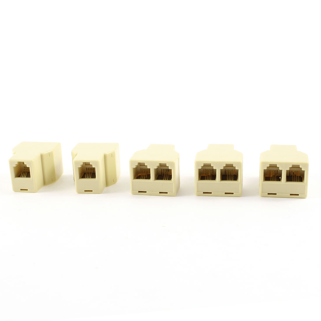 5 Pcs Beige Plastic RJ11 6 Position 4 Pins F-2F 3 Ports Telephone Connectors