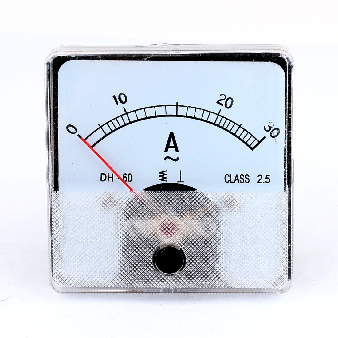 AC 30A Square Analogue Needle Amperemeter Panel Meter Clear Black