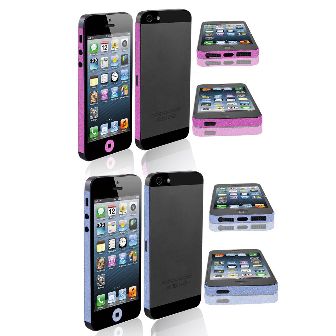 Glitter Vinyl Edge Wrap Decal Skin Sticker Fuchsia Blue 2 Pcs for iPhone 5 5G 5th