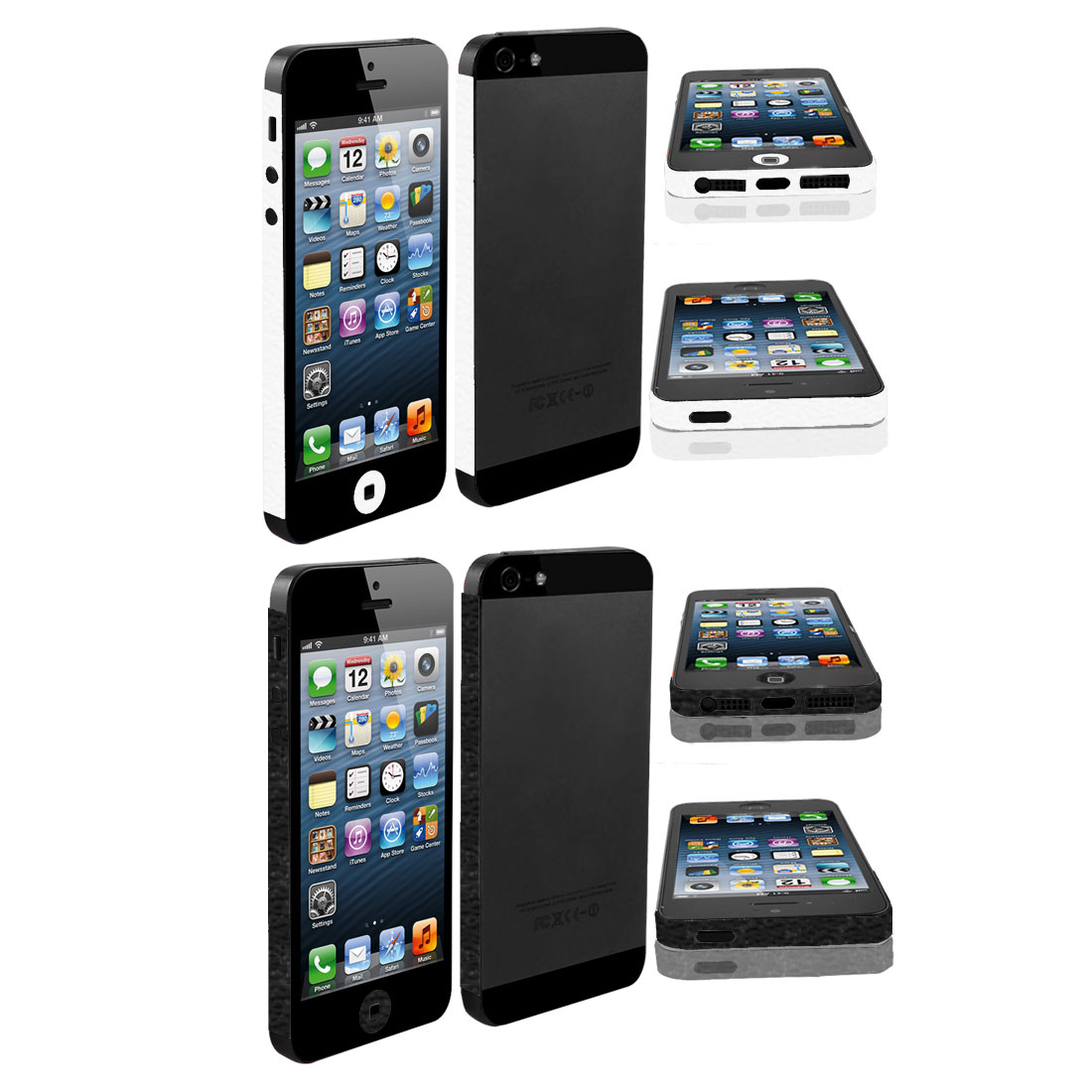 White Black Edge Wrap Sticker Decal Cover Decor 2 Pcs for Apple iPhone 5 5G