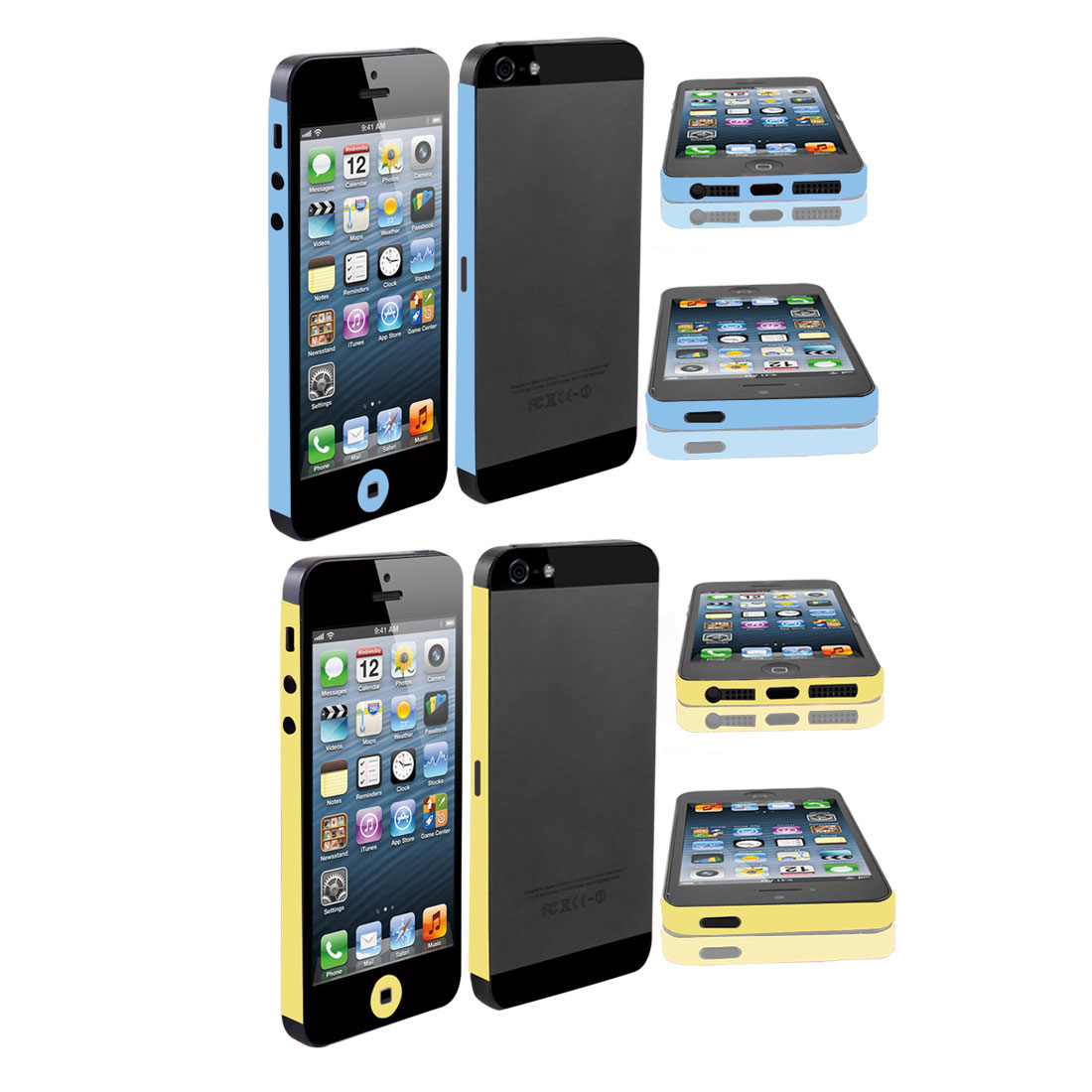 Blue Yellow Vinyl Side Edge Wrap Decal Skin Sticker 2 Pcs for iPhone 5 5G 5th