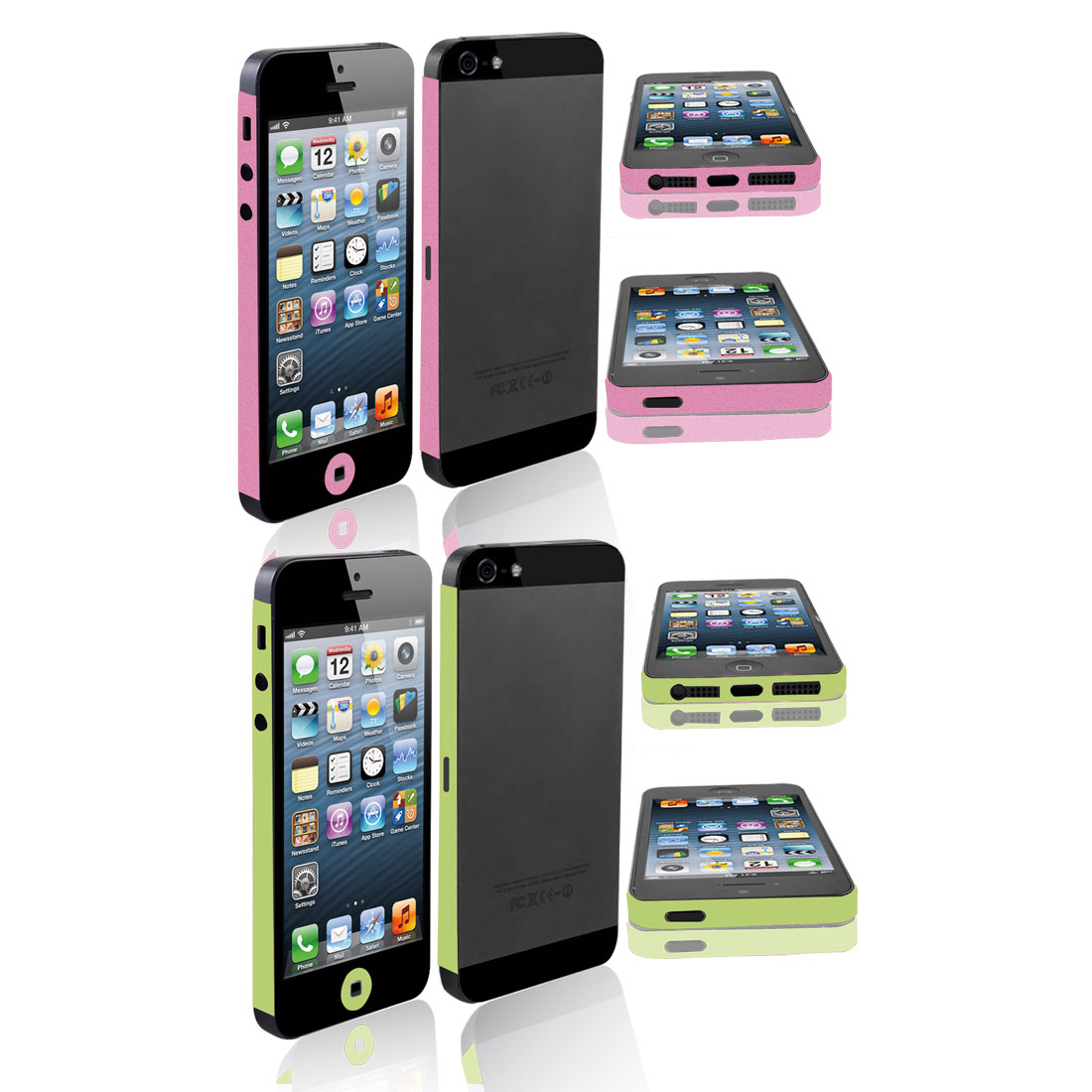 2 Pcs Frame Edge Wrap Decal Button Sticker Shield Green Pink for iPhone 5 5G