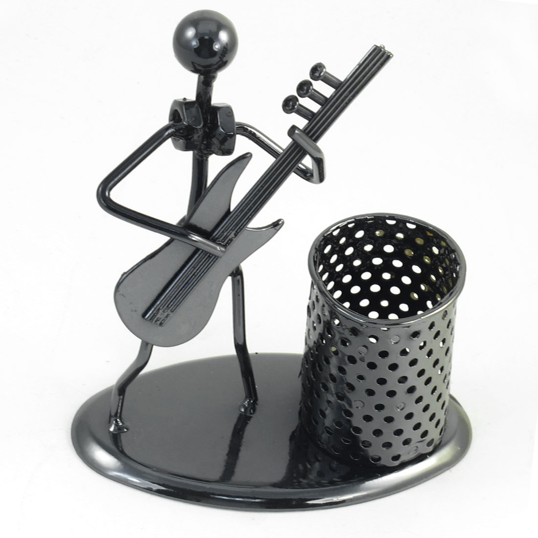 Guitar Man Decor Cylinder Dark Gray Metallic Desktop Pen Holder