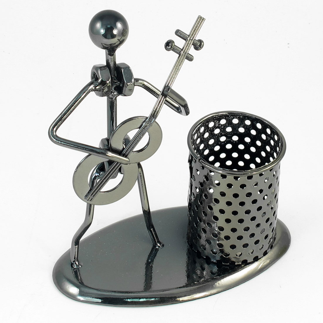 Cello Man Decor Cylinder Dark Gray Metallic Desktop Pen Holder