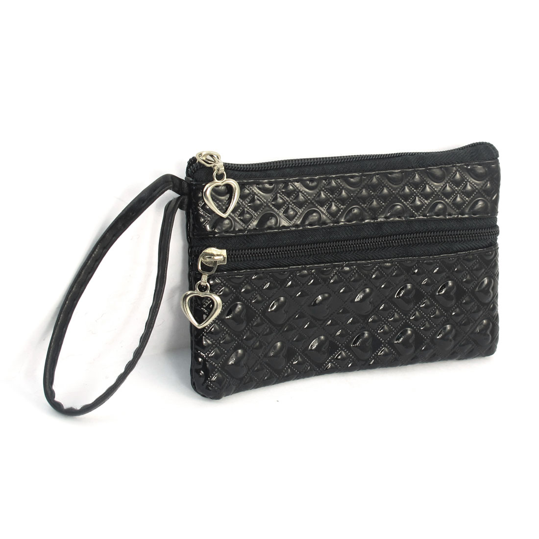 Hearts Print Black Faux Leather Zippered Purse Wallet for Lady