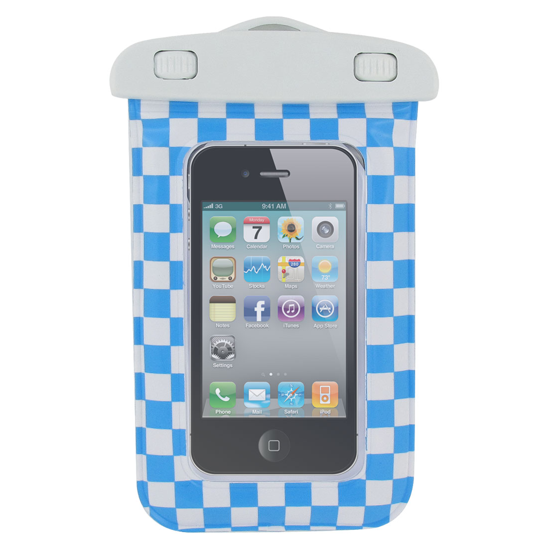 Black Clear Plastic Waterproof Bag Cover w Strap for Apple iPhone 4G